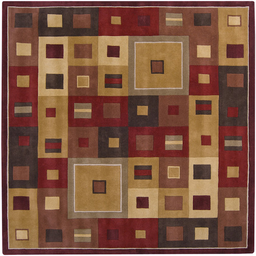 9.75' x 9.75' Red and Brown Decorative Area Throw Rug - IMAGE 1