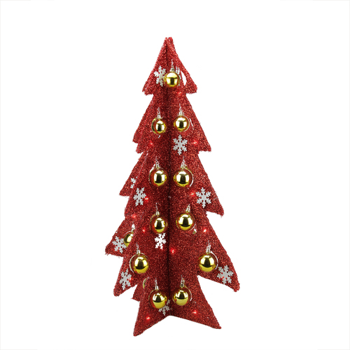 2.25' Pre-Lit Slim Tinsel Artificial Christmas Tree - Red Lights - IMAGE 1