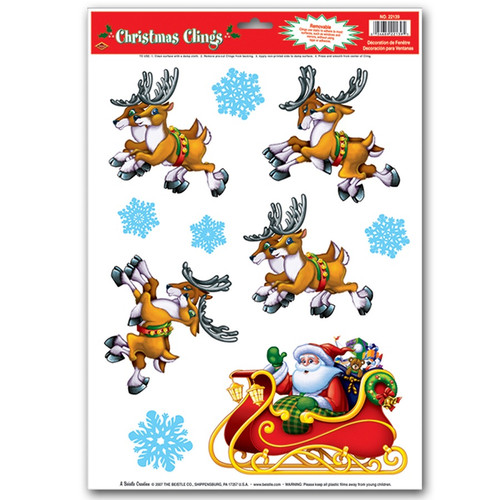 """Club Pack of 120 Santa and Reindeer Window Clings Christmas Decorations 17"""" - IMAGE 1"""