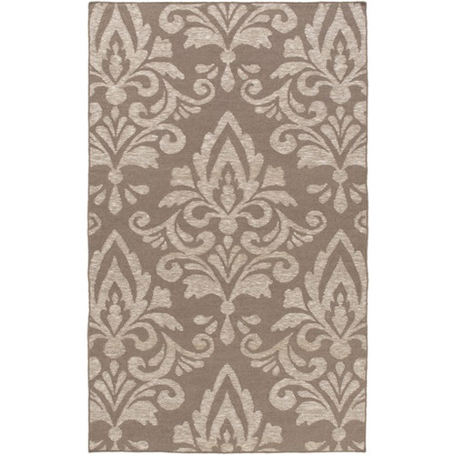 6' x 9' Extravagant Brown and Ivory Hand Woven Rectangular Wool Area Throw Rug - IMAGE 1