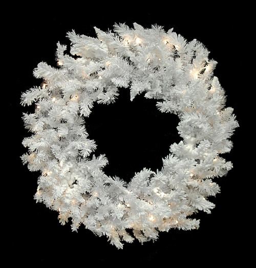 "60""Pre-Lit LED Flocked Spruce Christmas WreathWarm Clear Lights - IMAGE 1"