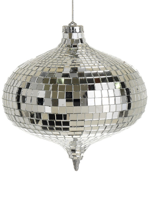 """6"""" Silver Mirrored Disco Onion Shaped Christmas Ornament - IMAGE 1"""
