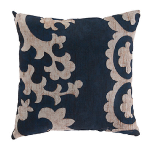 """20"""" Navy Blue and Beige Floral Square Throw Pillow Cover - IMAGE 1"""
