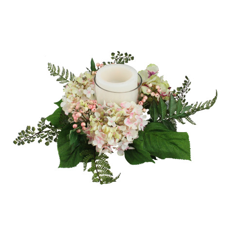 """16"""" Decorative Artificial Pink and Green Hydrangea and Berry Hurricane Glass Candle Holder - IMAGE 1"""