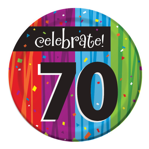 "Club Pack of 96 Milestone Celebrations ""Celebrate 70"" Disposable Paper Party Lunch Plates 7"" - IMAGE 1"
