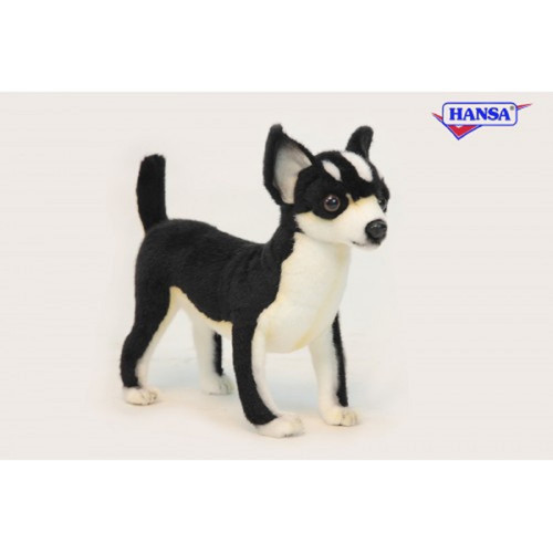 """Pack of 3 Life-like Handcrafted Extra Soft Plush Black and White Chihuahua Stuffed Animals 10.5"""" - IMAGE 1"""