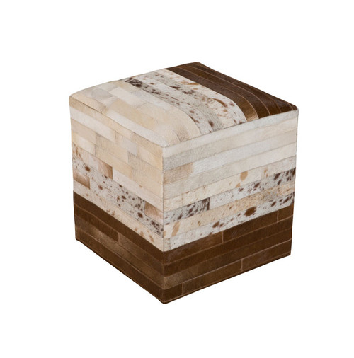 """18"""" Cream White and Chocolate Brown Earth Minerals Leather Square Pouf Ottoman - IMAGE 1"""