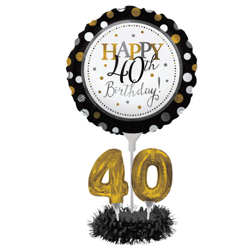 """Set of 4 Black and Gold colored Happy 40th Birthday! Foil Party Balloon Centerpiece Kits 30"""" - IMAGE 1"""