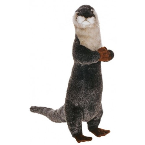 "Set of 3 Gray and Ivory Handcrafted Upright Otter Stuffed Animals 13.75"" - IMAGE 1"