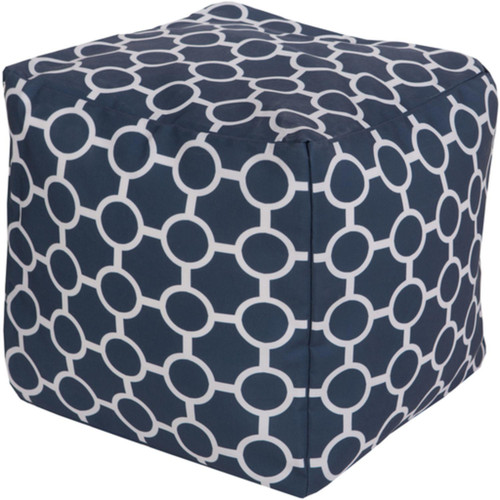 "18"" Cobalt Blue and Ivory Gated Spheres Square Outdoor Patio Pouf Ottoman - IMAGE 1"