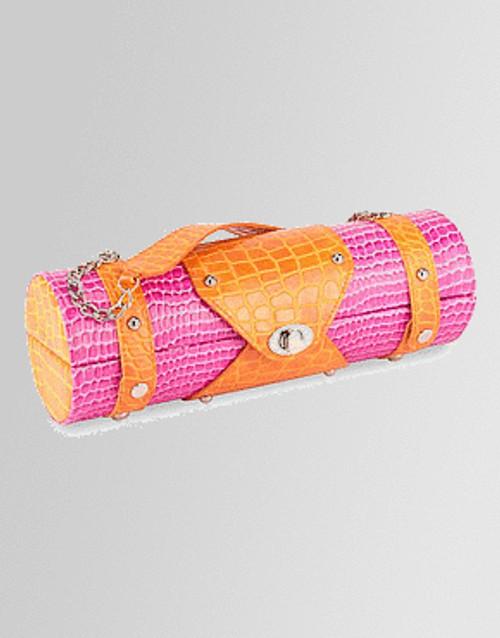 """13.25"""" Fashion Avenue Stylish Pink & Orange Crocodile Pattern Wine Bottle Purse - IMAGE 1"""
