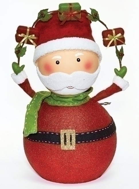 "24"" Red and Green Musical Santa Claus with Gifts Christmas Tabletop Figure - IMAGE 1"