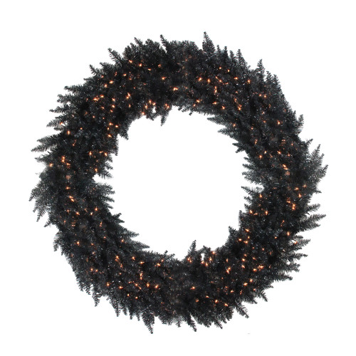 Pre-Lit Black Ashley Spruce Artificial Christmas Wreath - 72-Inch, Clear Lights - IMAGE 1