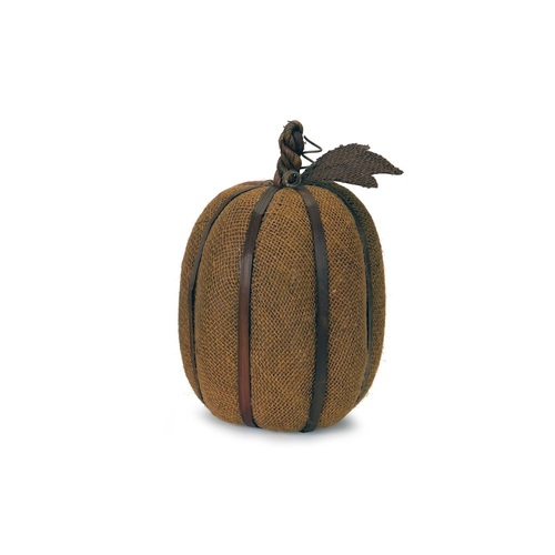 "12"" Autumn Harvest Bronze Burlap Pumpkin with Bamboo Thanksgiving Fall Decoration - IMAGE 1"