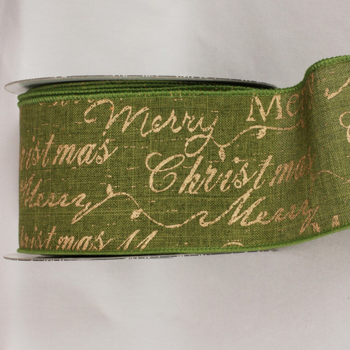 Green and Gold Merry Christmas Scripted Wired Craft Ribbon 3 x 20 yards - IMAGE 1