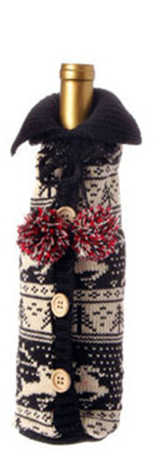 """11"""" Alpine Chic Black and Cream Reindeer and Tree Nordic Design Knit Christmas Wine Bottle Cover - IMAGE 1"""