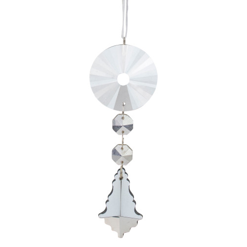 """5.5"""" Clear Glass Dangling Pendant Christmas Ornament - IMAGE 1"""
