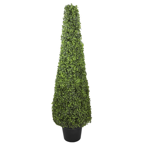 """45"""" Potted Two Tone Green Triangular Boxwood Topiary Artificial Tree - Unlit - IMAGE 1"""