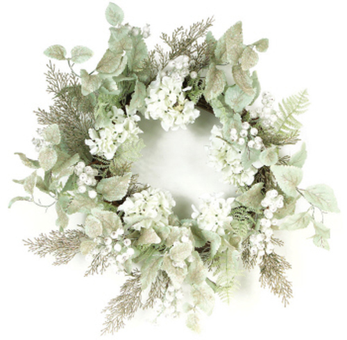 Green and White Hydrangea Glittered Berry Artificial Christmas Wreath - 24-Inch, Unlit - IMAGE 1