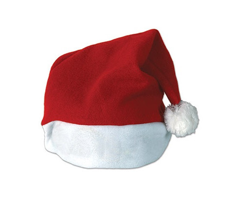Pack of 12 Red and White Plush Santa Christmas Hat Costume Accessories - One Size - IMAGE 1