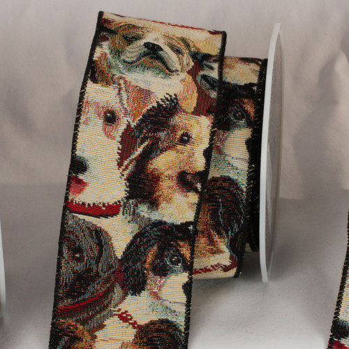 """Brown and White Puppy Pooch Tapestry Wired Craft Ribbon 3"""" x 9 Yards - IMAGE 1"""