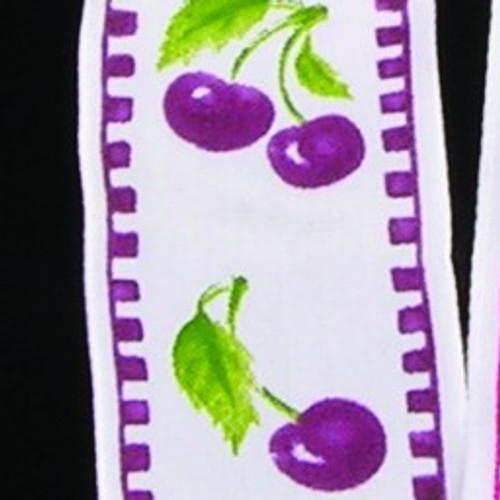 "Purple and White Cherry Wired Craft Ribbon 1.5"" x 27 Yards - IMAGE 1"
