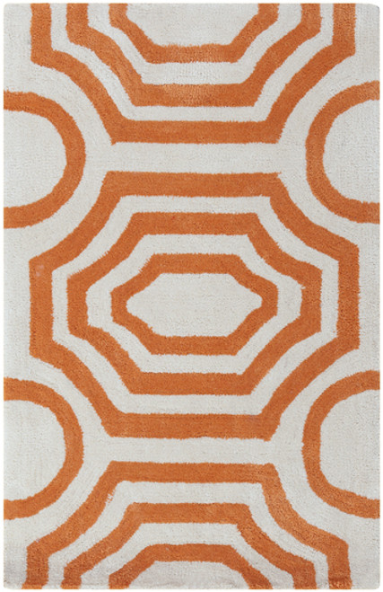 5' x 7.5' Rippling Octagon Creamsicle Orange and White Hand Tufted Plush Area Throw Rug - IMAGE 1