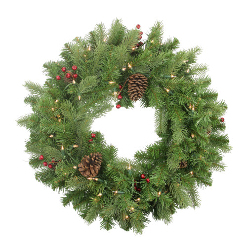 """24"""" Pre-lit Noble Fir with Red Berries and Pine Cones Artificial Christmas Wreath - Clear Lights - IMAGE 1"""
