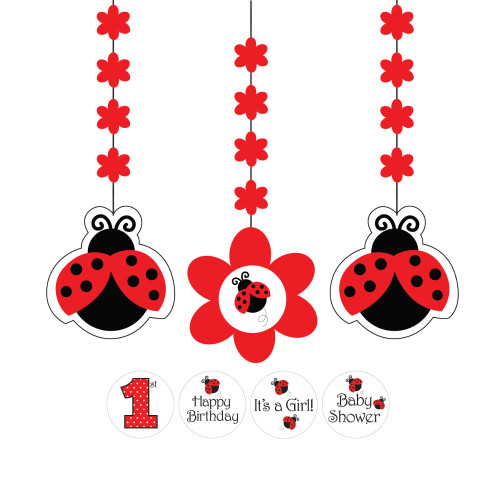 """3pc Red and Black Ladybug Fancy Hanging Cutout With Stickers Party Decorations 36"""" - IMAGE 1"""