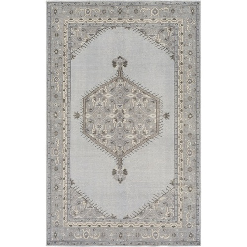 8' x 11' Blue and Gray Hand Knotted Rectangular Wool Area Throw Rug - IMAGE 1