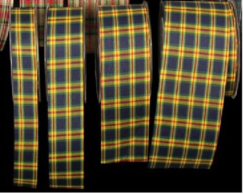 "Blue and Yellow Tartan Cut Edge Craft Ribbon 2"" x 66 Yards - IMAGE 1"