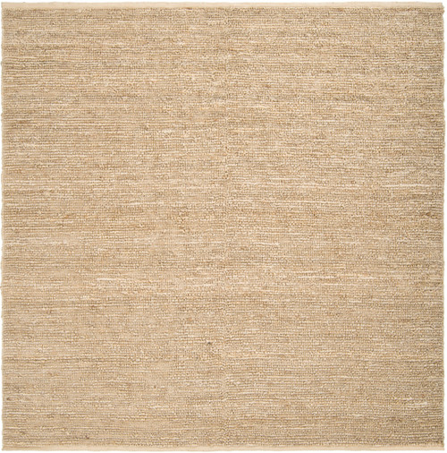8' x 8' Solid Beige and White Hand Woven Square Area Throw Rug - IMAGE 1