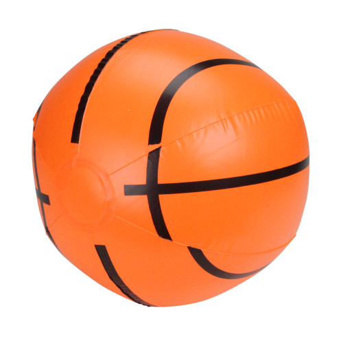 Inflatable Orange and Black 6-Panel Beach Basketball Swimming Pool Toy, 16-Inch - IMAGE 1