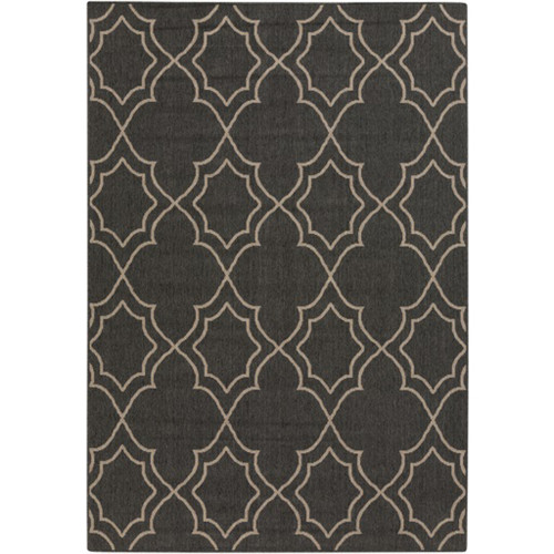 2.25' x 4.5' Black and Brown Contemporary Rectangular Area Throw Rug - IMAGE 1