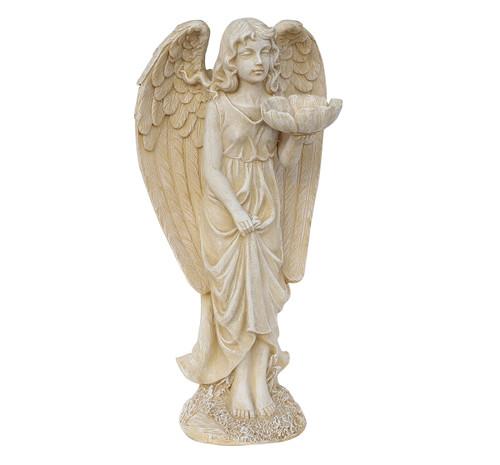 """20"""" Heavenly Gardens Distressed Ivory Cherub Angel Bird Feeder Outdoor Patio Garden Statue - IMAGE 1"""