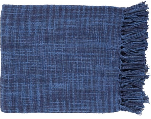 """49"""" x 59"""" Summertime Breeze Cobalt Blue and Navy Blue Fringed Throw Blanket - IMAGE 1"""