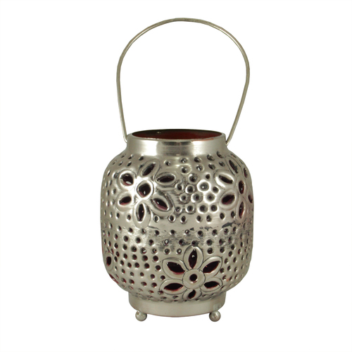 "4"" Tropicalia Silver and Red Cut-Out Floral Tea Light Candle Holder - IMAGE 1"