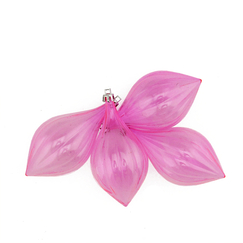 """4ct Pink Shatterproof Transparent Christmas Finial Ornaments 5"""" - IMAGE 1"""