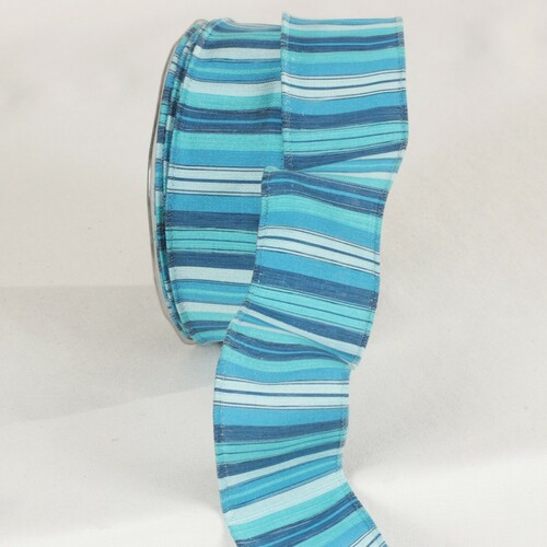 """Turquoise, Blue, and White Wired Craft Ribbon 1.5"""" x 27 Yards - IMAGE 1"""