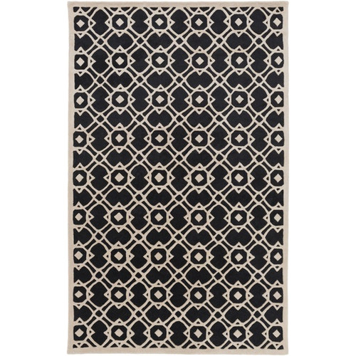 9' x 13' Entangled Symmetry Jet Black and Stone Gray New Zealand Wool Area Throw Rug - IMAGE 1