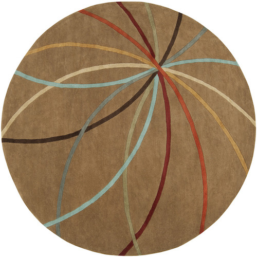 8' Brown and Red Contemporary Round Wool Area Throw Rug - IMAGE 1