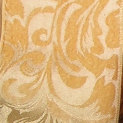 "Gold and Ivory Floral Wired Craft Ribbon 6"" x 20 Yards - IMAGE 1"
