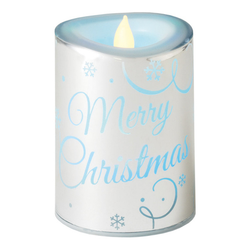 """4.5"""" LED Lighted """"Merry Christmas"""" Flameless Color Changing Candle - IMAGE 1"""