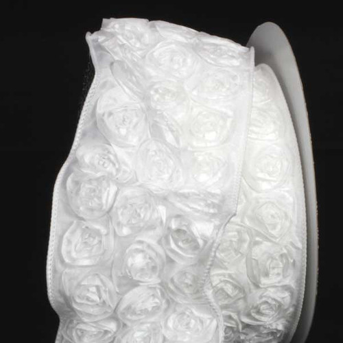 """White Contemporary Roses Wired Craft Ribbon 4"""" x 10 Yards - IMAGE 1"""