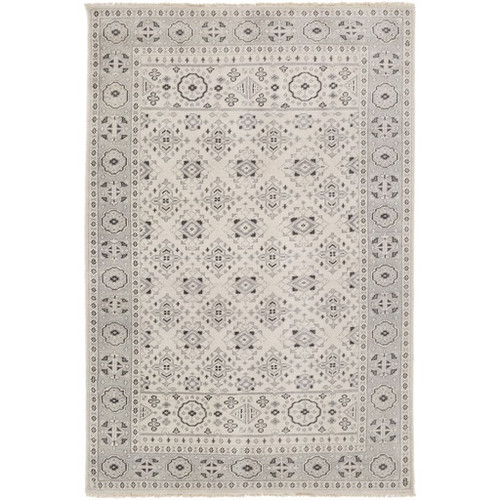 5.5' x 8.5' Traditional Gray and Beige New Zealand Wool Area Throw Rug - IMAGE 1