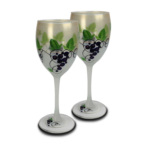 Set of 2 Green Grapes and Vines Hand Painted Wine Drinking Glasses 10.5 oz. - IMAGE 1