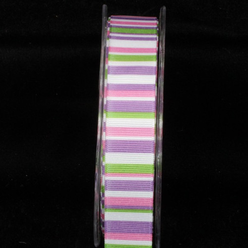 "Pink and Purple Striped Wired Craft Ribbon 1"" x 54 Yards - IMAGE 1"