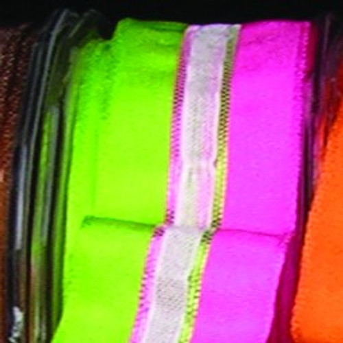 """Sheer Green and Pink Striped Wired Craft Ribbon 0.75"""" x 108 Yards - IMAGE 1"""