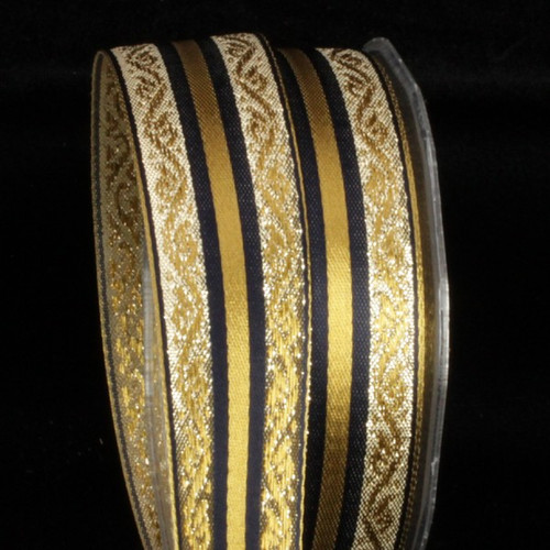"""Metallic Gold and Navy Blue Woven Striped Wired Craft Ribbon 1.25"""" x 27 Yards - IMAGE 1"""