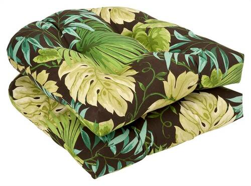 """Set of 2 Tropical Green Reversible Outdoor Patio Tufted Wicker Chair Seat Cushions 19"""" - IMAGE 1"""